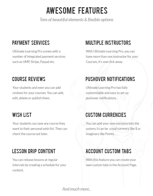 - 02 ulp awesome features - Ultimate Learning Pro WordPress Plugin