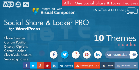 Social Share & Locker Pro Theme Pack (W&B) 3